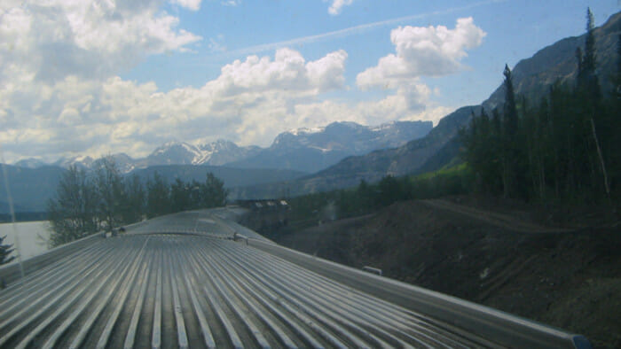 Taking the train into the Rockies towards Jasper from Edmonton.
