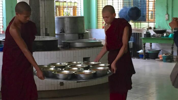 lunch in Kyaly Khat Wai Monastery Bago