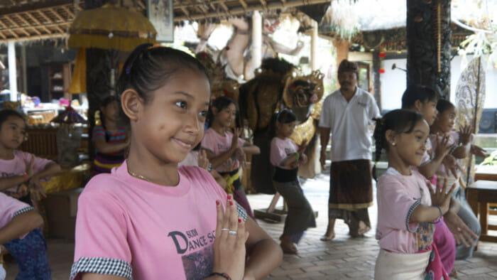 The girls dancing at the Sudi Dancing School in Blahbatuh.