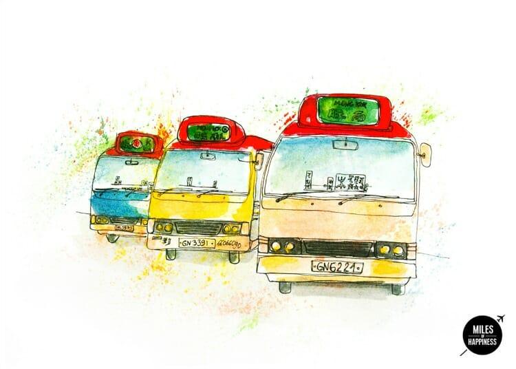photo, images of hong kong, green buses
