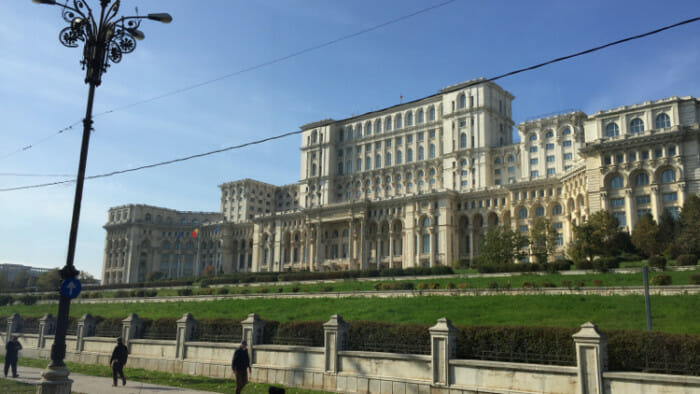 The Palace of the Parliament world's largest civilian building with an administrative function according to Wikipedia. It was initiated by the much hated communist leader Nicolae Ceausescu.