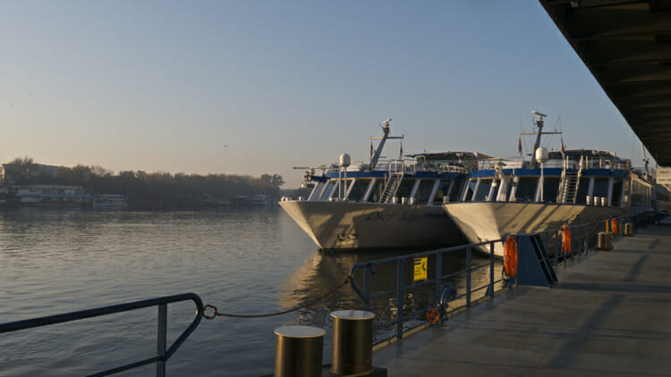 River Adagio docked with sister ship in Belgrade