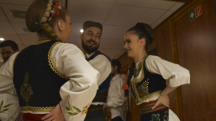 In Serbia these dancers shared their traditional dance for an evening of entertainment.