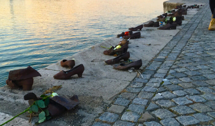 Shoes on the Danube memorial for jews killed during the Holocaust.