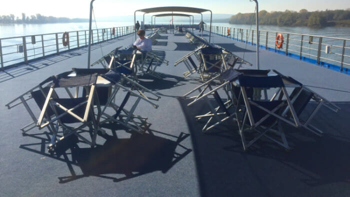 The upper deck of the ship is great for viewing and for walking.