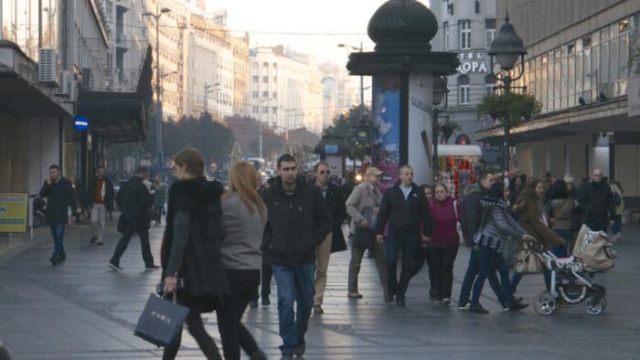The pedestrian mall in Belgrade.