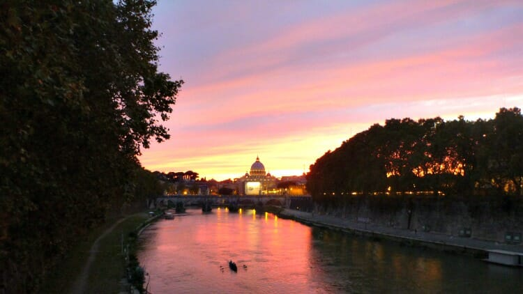 photo, image, sunset, rome, solo time on a group tour