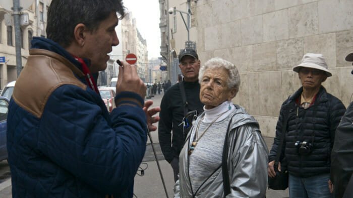 On a tour of the Jewish Quarter in Budapest I caught this photo of Ann in the foreground, she's 90, and John in the background who is 52. There was a wide age-range on board.