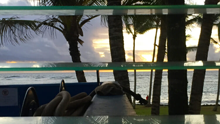 My daylight sight in Kauai. All I had to do was sit up in bed and there was the sunrise.
