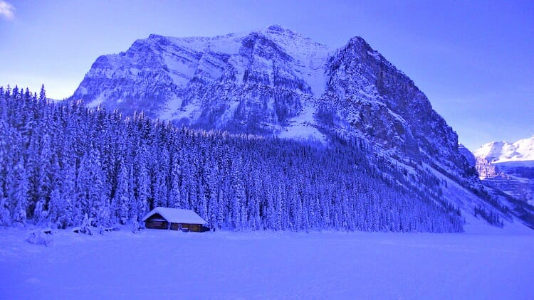 photo, image, frozen lake louise, rocky mountains