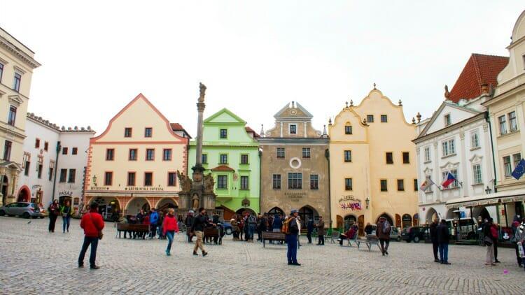 photo, image, town square, cesky krumlov, czech republic