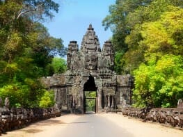 The ancient ruins of a historic Khmer temple in the temple complex of Angkor Wat in Cambodia. Travel Cambodia concept.