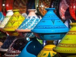 Tajines in the market Marrakesh Morocco Afrika