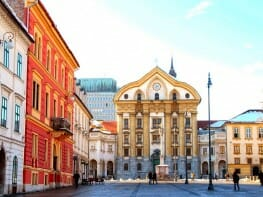 Town square with Ursulinska church of the Holy Trinity, Ljubljana, Slovenia