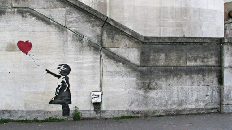 photo, image, banksy, girl with a balloon, east end london