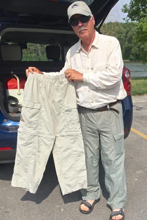 Peter had his recommended gear including these quick-dry pants.