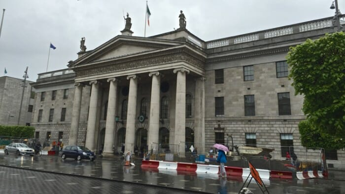 The GPO - General Post Office. You can see bullet holes in the building from when the rebels were under siege during the 1916 Easter Rising.