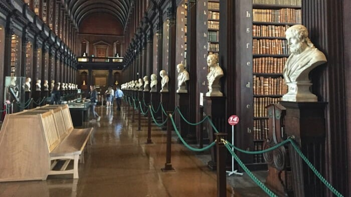 The Long Room in the Trinity College Library.
