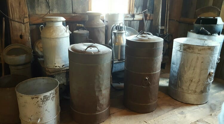 photo, image, milk cans, ingersoll cheese museum, oxford county cheese trail
