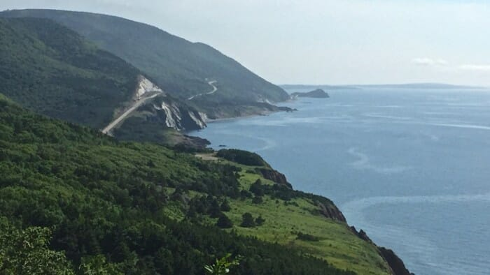 An iconic view of the Cabot Trail on Cape Breton Island, Nova Scotia.