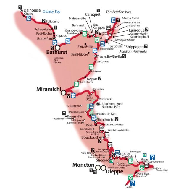 map acadian coastal route