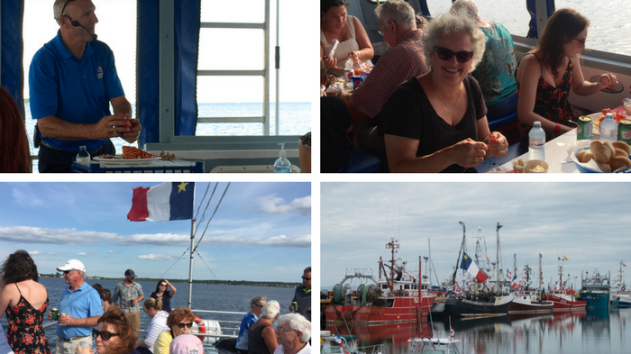 From top left and clockwise: Ron showing us the proper way to eat a lobster, me eating one, the Shediac harbor and a pic from the upper deck of the boat.