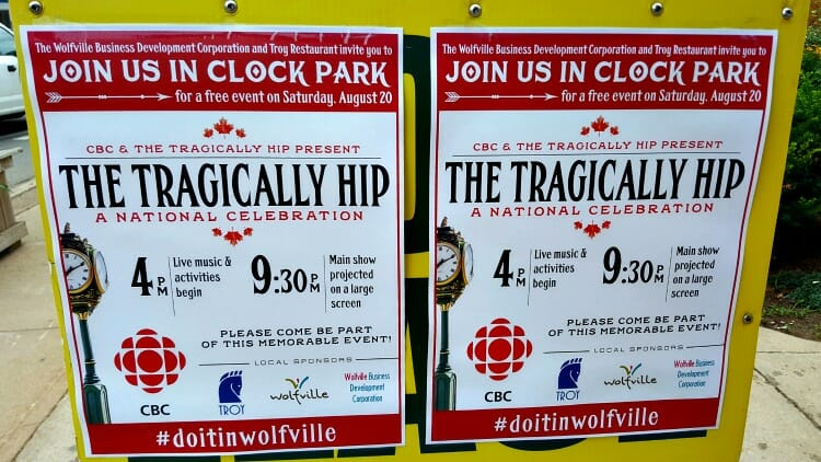 photo, image, tragically hip, poster, wolfville, nova scotia