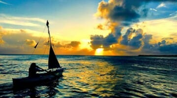 photo, image, boat, sunset, caye caulker