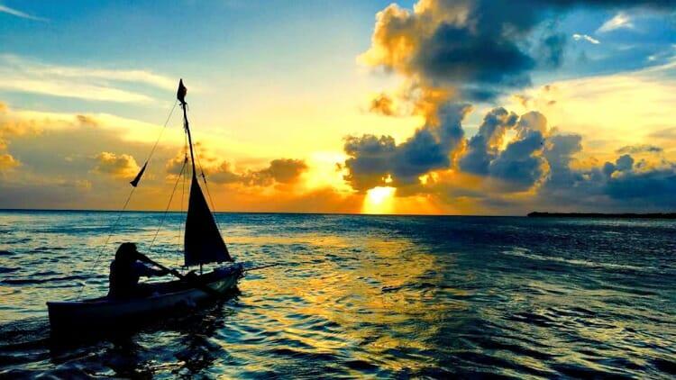 photo, image, boat, sunset, caye caulker