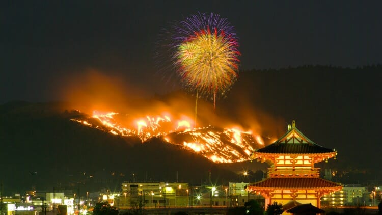 photo, image, Yamayaki Fire Festival, nara, japan
