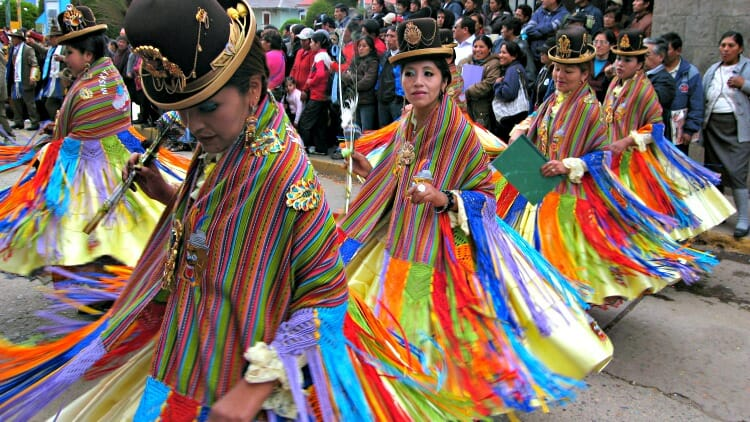 photo, image, women in costumes, festival of candelaria, puno, peru