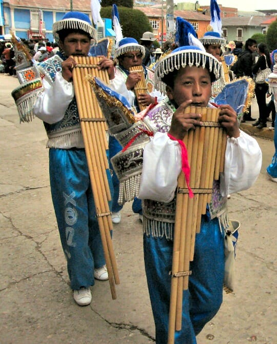 photo, image, andean pan pipes, festival of candelaria, puno, peru