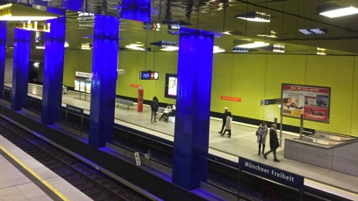 The lighting in this subway station at the Münchner Freiheit Station was designed by lighting artist Ingo Maurer. You can visit Maurer's studio/showroom which I did. I'll be writing about it soon.