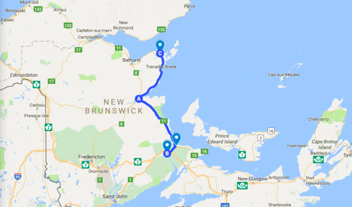 solo road trip map new brunswick