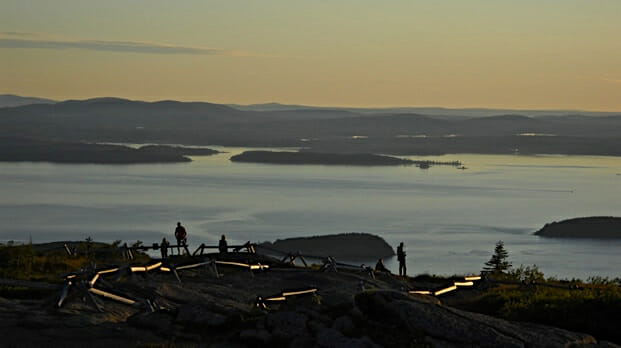 The sun rises first in North America on Cadillac Mountain in Maine.