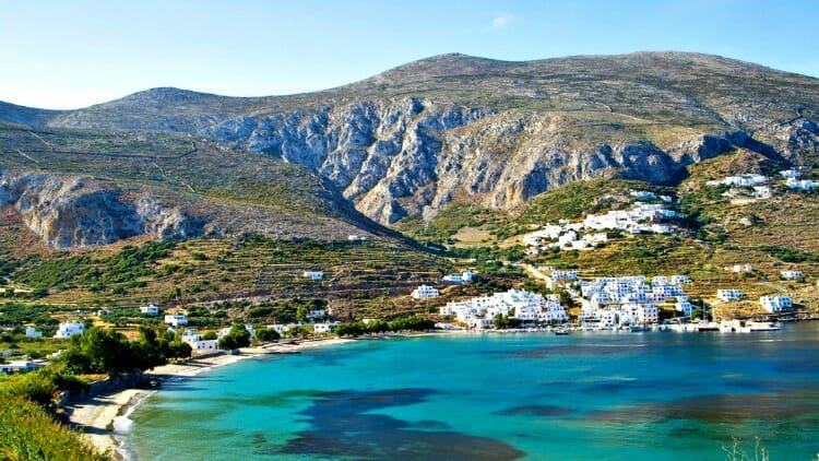 photo, image, aegiali bay, amorgos, greece