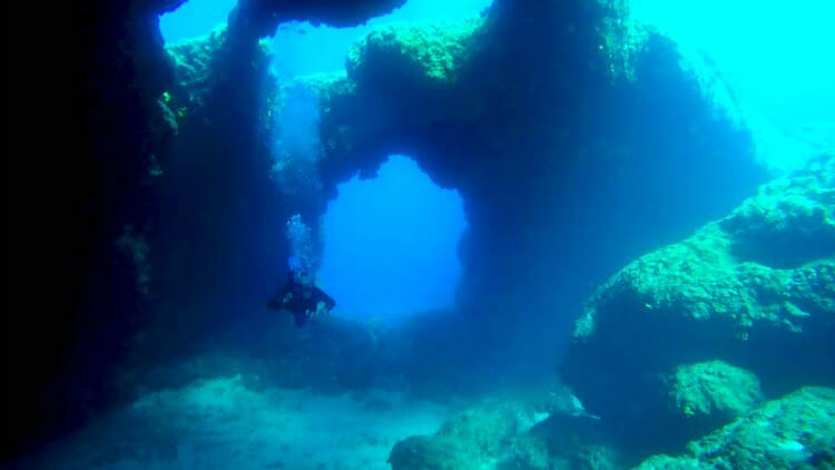 photo, image, Diving in Nicouria Cavern, amorgos, greece
