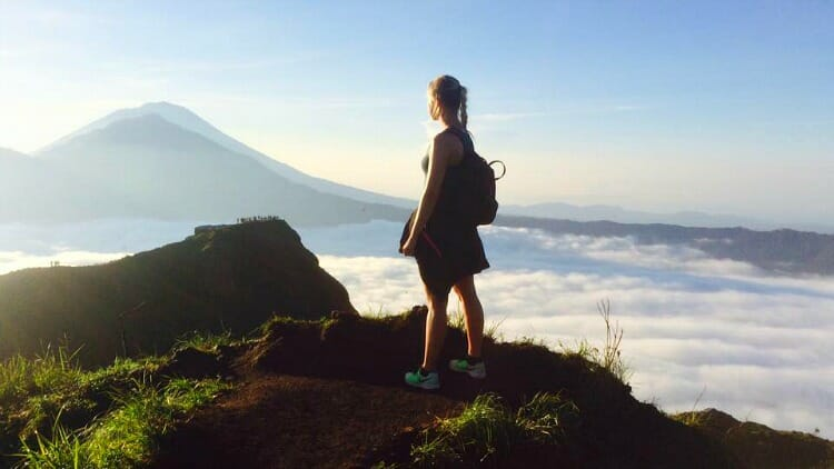 photo, image, woman, mount batur, bali, indonesia
