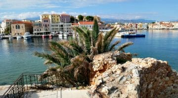 photo, image, harbour, chania, crete, greece