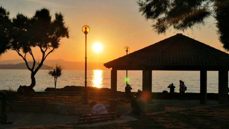 photo, image, sunset, chania, crete, greece