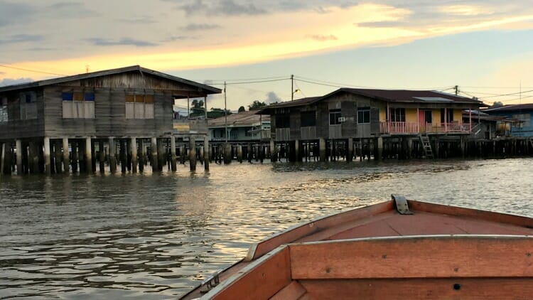 photo, image, water village, brunei