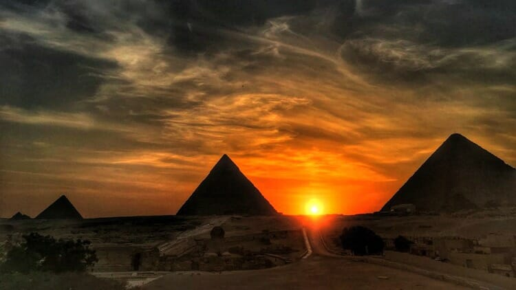 photo, image, sunset, pyramids, gizah
