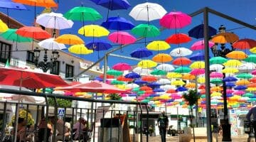 photo, image, umbrellas, central square, torrox