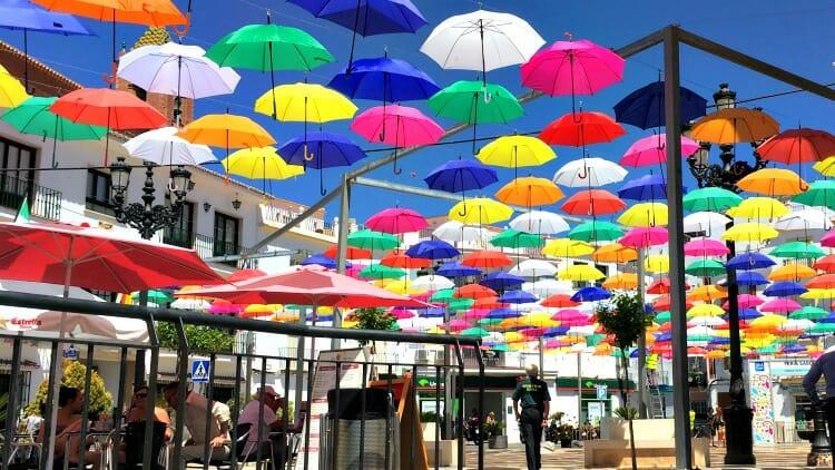 photo, image, umbrellas, central square, torrox
