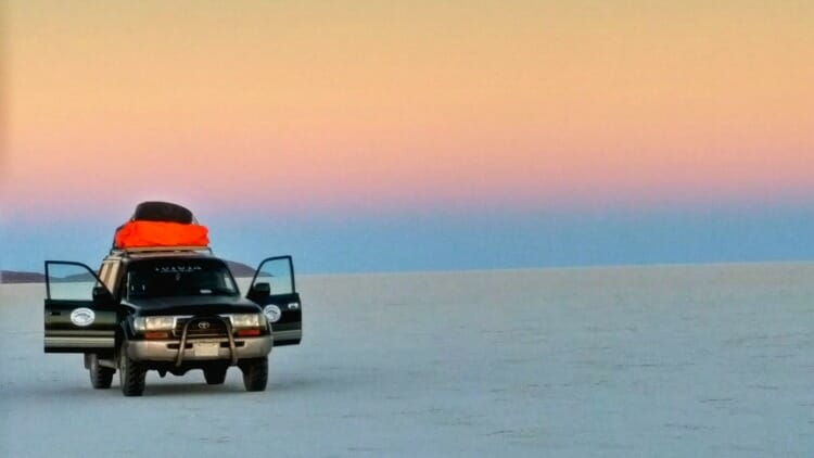 photo, image, sunset, salar de uyuni, bolivia