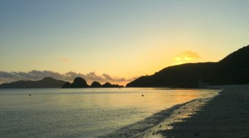 photo, image, sunset, ama beach, zamami island