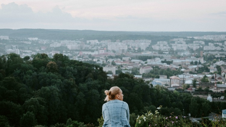 photo, image, woman on hill, stress-free solo travel
