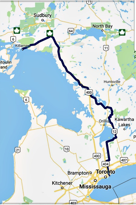 solo road trip map ontario