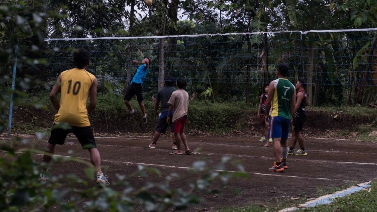 photo, image, boys playing volleyball, indonesian jungle