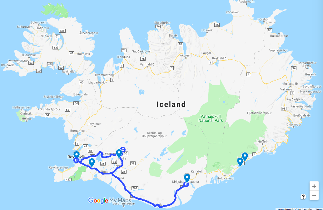 photo, image, map, road trip iceland